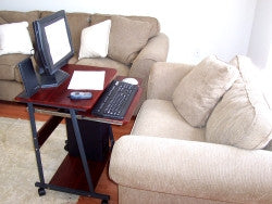 "24"" compact mobile computer desk with keyboard tray & mouse tray"