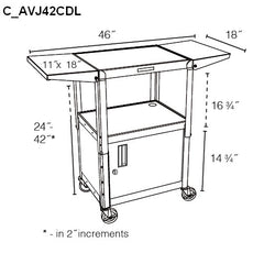 AVJ42CDL Steel Mobile Laptop Utility Cart Dimensions