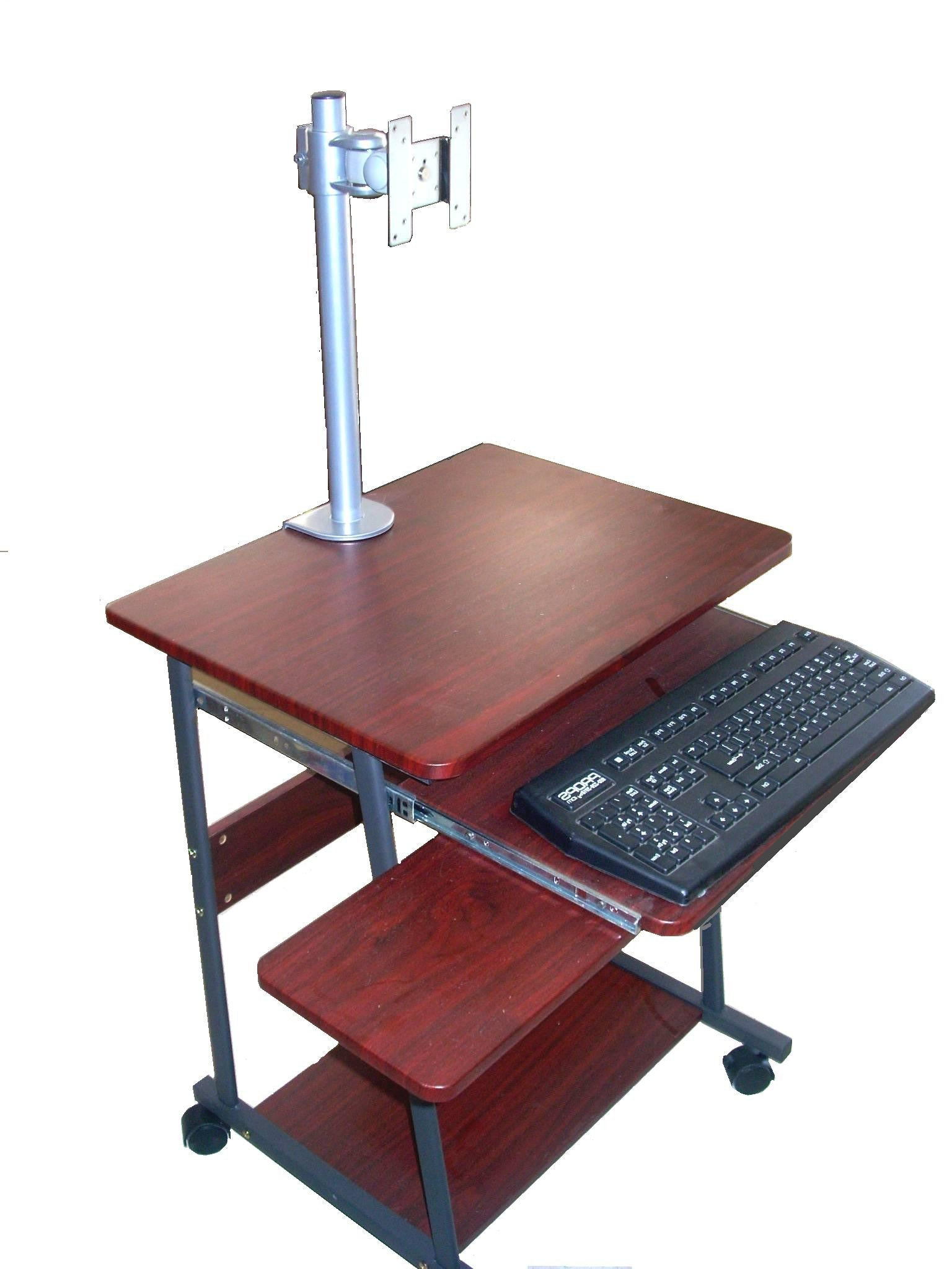 "24"" compact mobile computer desk with keyboard tray & mouse tray shown with lcd monitor desk stand clamp on"