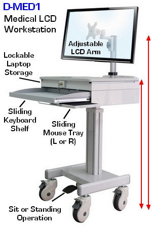 DMED1 Medical Computer Laptop Mobile Workstation Sit to Stand with pedal adjustment and security drawer for laptop.