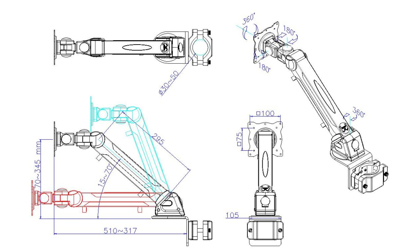 DP855BS Monitor Pole Arm Height Adjustable Drawing
