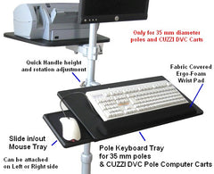 Keyboard Tray with Mouse tray for poles - Height adjustable