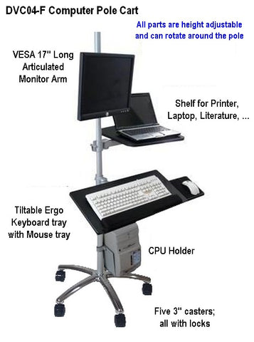 DVC04-F Pole Computer Cart Sit to Stand Height Adjustable Portable Rolling Workstation