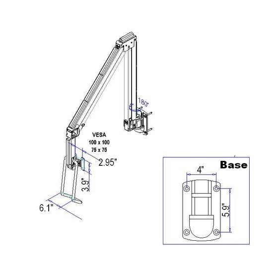 DW630W_Hospital-long-reach-monitor-wall-arm-over the bed