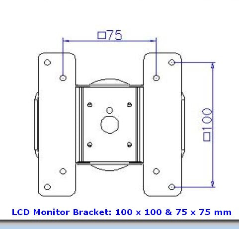 VESA L100 x 100 & 75 x 75 CD Monitor Bracket for CUZZI DW630W & DW395W Hospital Monitor Wall Arms