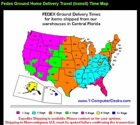 Fedex Ground Delivery Time Map for CUZZI Desks & Monitor Mounts