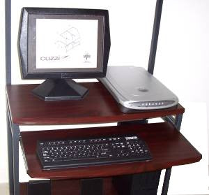 STS7801 Mobile Compact Computer Desk with keyboard Shelf & Hutch