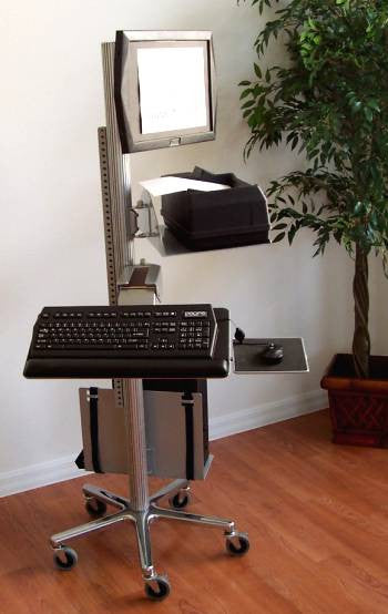 VC01 Pole Computer Desk, height adjustable, as a sit and standing computer desk