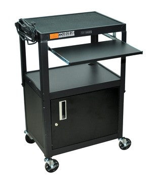 C AVJ42KBC   Adjustable Height Steel Computer Cart With Locking Cabinet U0026  Pullout Tray
