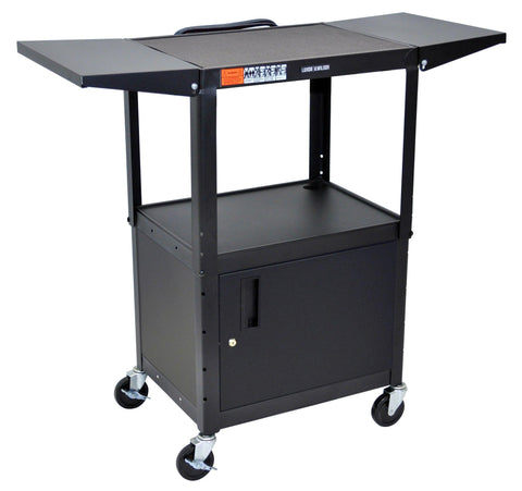 C_AVJ42CDL - Adjustable Height Steel A/V Cart & Cabinet, Drop Leaf expanding top - Oceanpointe Distributors Corporation