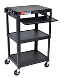 C AVJ42KB Height-adjustable steel Computer Cart, in many colors - Oceanpointe Distributors Corporation
