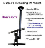"Wholesale Lot of (4) D25-41-80 Ceiling TV Mount 26"" to 60"" TVs - Length Extendable 21 - 41"" up to 121"" - $83.00 per unit - Oceanpointe Distributors Corporation"