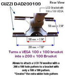 D-AD200100 VESA Adapter Bracket from 100 x 100 to 200 x 100 - Oceanpointe Distributors Corporation