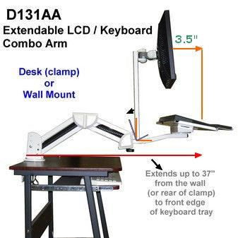 Desk and wall mountable LCD Monitor and Keyboard arm