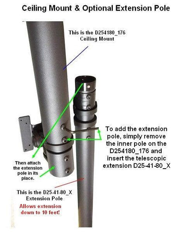 "D254180_X TV Ceiling Extension Pole for an Extra 44"" to 80"" Extension - Oceanpointe Distributors Corporation"