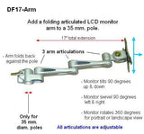 DF17ARM  LCD Pole Arm for 35 mm diameter Poles - Oceanpointe Distributors Corporation