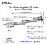 DF17-CL-GR Monitor Desk Arm - Clamp-on OR Bolt-on - Oceanpointe Distributors Corporation