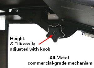 Universal ergonomic keyboard shelf with mouse tray for table with tilt and height adjustment