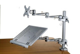 DLAC2_DFL Laptop Desk Stand and tray with LCD Monitor Arm Combo. Mount a laptop tray & arm with a monitor arm to your table. Clamp on your desk.