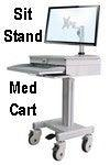 Medical Computer Equipment Cart Laptop & Desktop - Sit to Stand Workstation