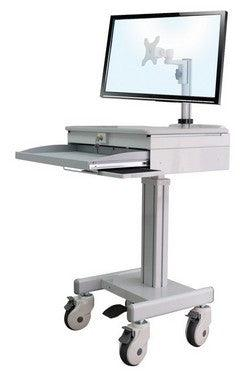 Medical LCD Computer or Laptop cart - Height-Adjustable, with lockable drawer for laptop storage