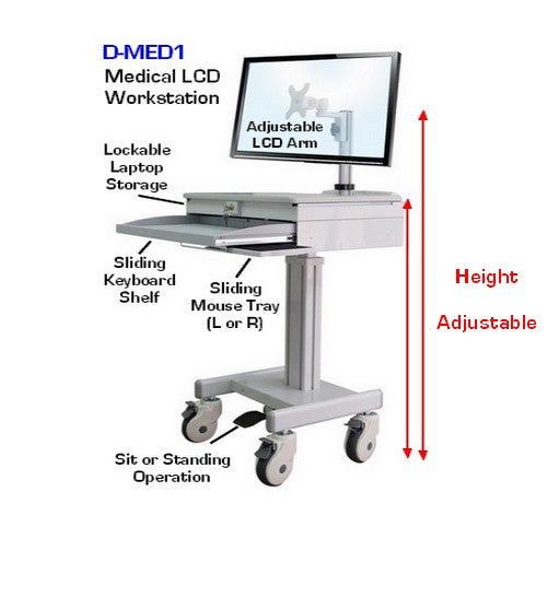 D Med1 Medical Lcd Computer Laptop Cart Height Adjustable