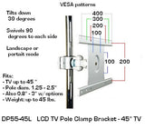 "D55-45L LCD Monitor Pole Mount Bracket for TVs up to 45"" - Oceanpointe Distributors Corporation"