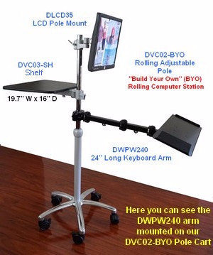 DWPW240 Pole Mounted Long Keyboard Tray with mouse pad shown on DVC02-BYO Pole Workstation