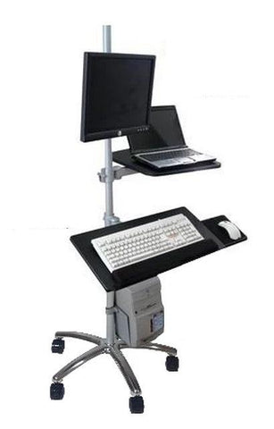 DVC04-F Rolling Pole Computer Workstation - Sit to Stand - Height Adjustable