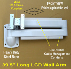 Fold Flat or Extend to 39.5 inches LCD Monitor TV Wall Arm for Hospital, Healthcare, Home in Bed use, Dental Practice