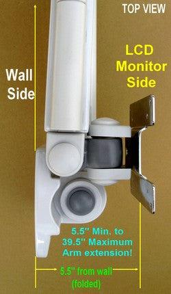 Top View of LCD TV Wall Arm VESA 39.5 inches long Hospital, Healthcare, Home Bed use