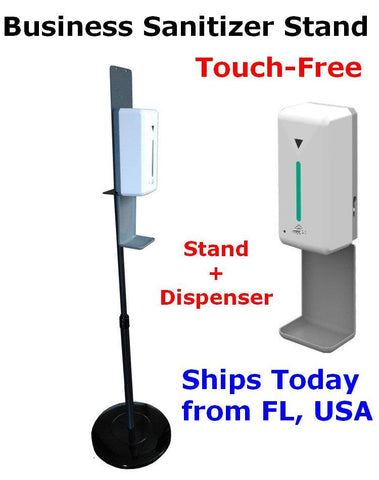 Commercial Touch Free Hand Sanitizer Dispenser Station Floor Stand in US in Stock for restaurants, Schools, Buinesses, Stores, Chruches.