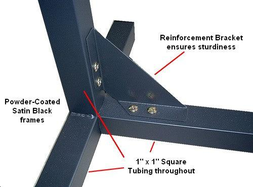 Reinforcement bracket on vertical frames ensures sturdiness on Laptop Rolling Bed Tray