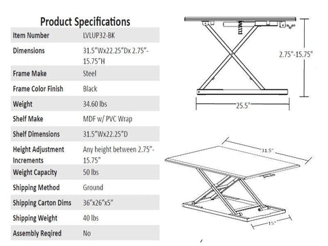 CLVLUP32BK 32 Adjustable Sit to Stand Desk Height Riser