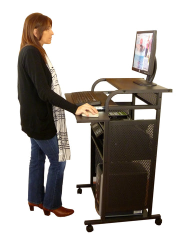 "S2445METAL   24"" All Metal Standing Computer Desk - Black"