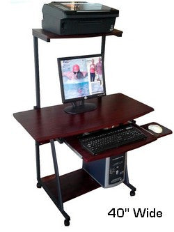 "S-40 40"" Compact Computer Desk with hutch printer shelf & keyboard shelf"