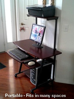 S 40 40 Quot Mobile Computer Desk With Hutch Printer Shelf