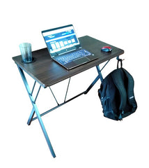 32 inch wide compact gaming computer desk dark walnut with backpack headphone hook and cup holder