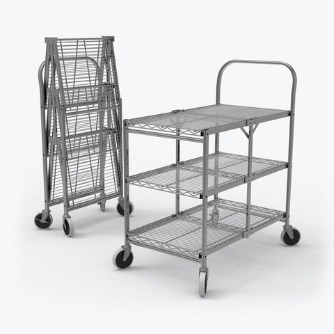 Three-Shelf Collapsible Food Service Wire Utility Cart Foldable