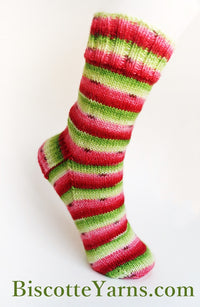 Try our watermelon yarn : most favorite hand-dyed self-striping sock yarn !