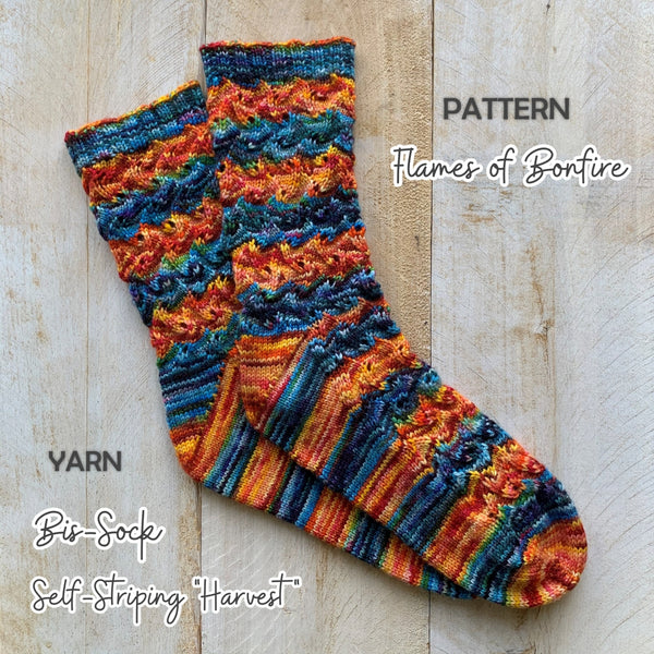 free sock pattern Flames of Bonfire with Self-Striping HARVEST yarn
