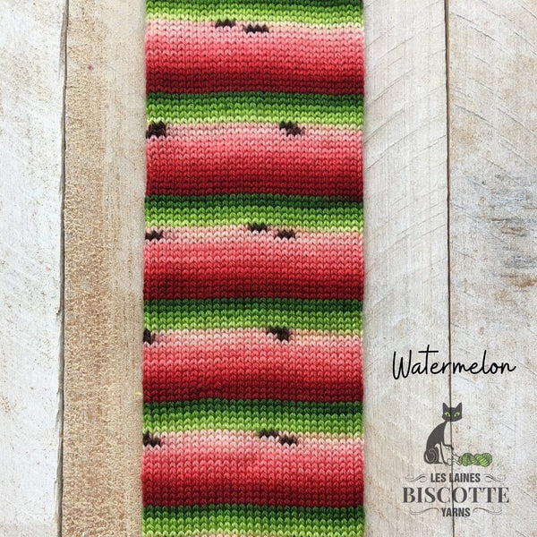 watermelon self-striping yarn