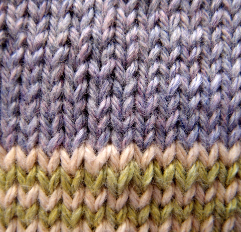 Knitting the stocking stitch pattern