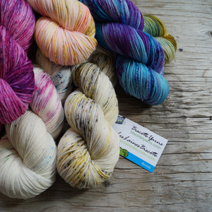 Hand-dyed yarns by Biscotte Yarns