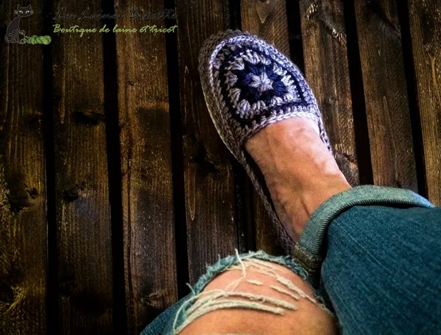 crocheted slippers with sole