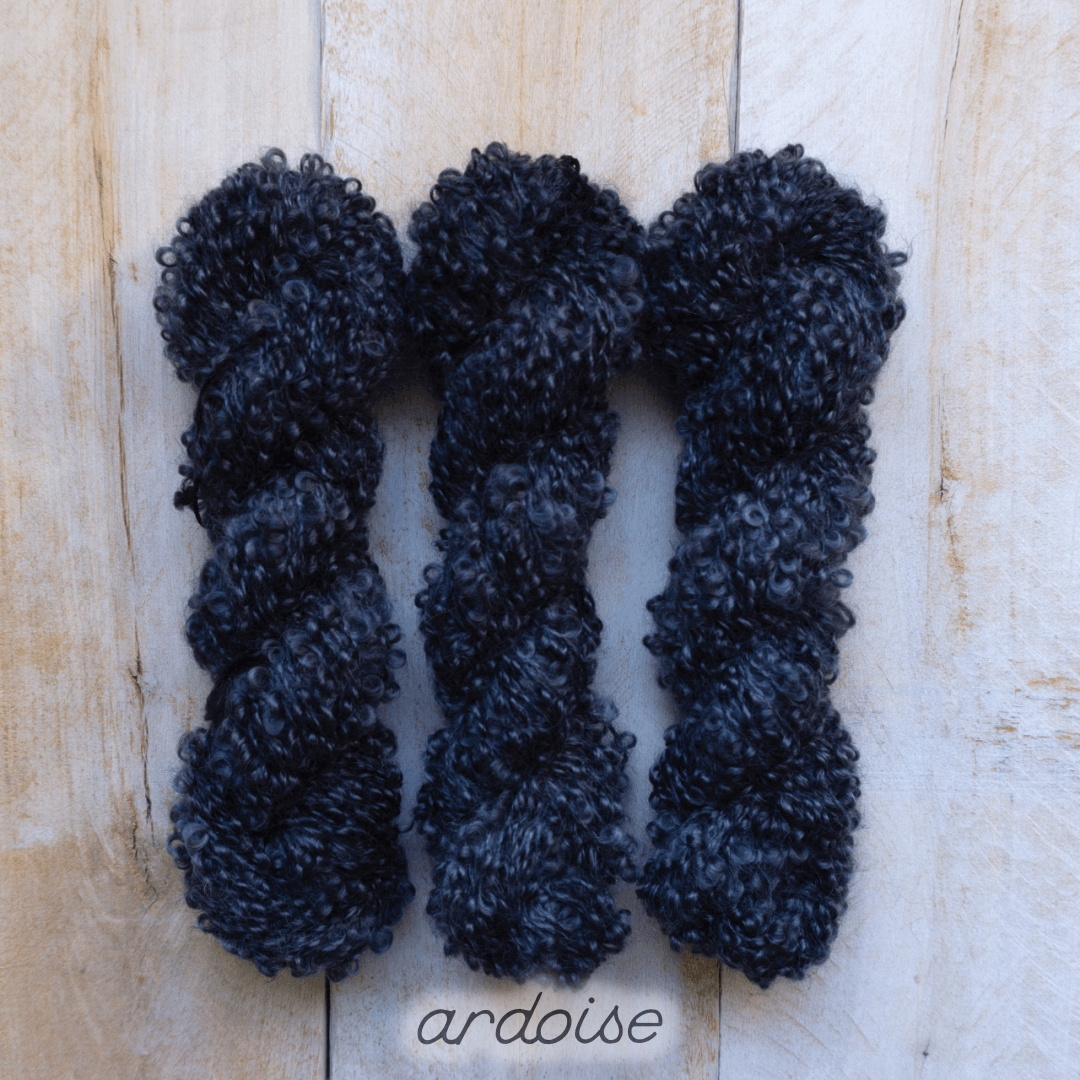 ARDOISE by Louise Robert Design | BOUCLE MOHAIR hand-dyed semi-solid yarn