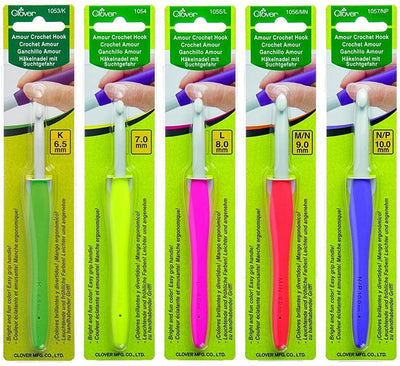Clover - Amour Crochet Hook individual packages from 0.6 mm to 10 mm