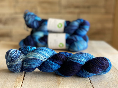 Bis-sock yarn Blue Jeans speckled hand-dyed yarn | 100g(2x50g) or 50g mini skein size