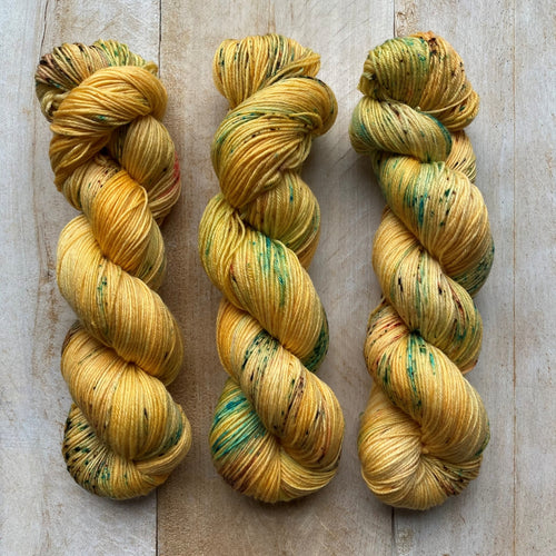 Bis-Sock FOOL'S GOLD | hand-dyed Speckled sock yarn | 100g (2x50g) / 50g (mini skein)