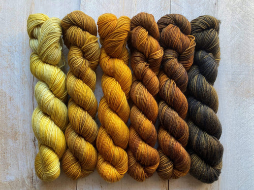 Mini Skeins of Yarn PAINTBOX gradient yarn set  CAPPUCCINO